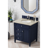 Brittany 30'' Single Bathroom Vanity Set in Victory Blue Finish with 1-1/5'' Galala Beige Top and Oval Sink