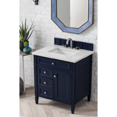 Brittany 30'' Single Bathroom Vanity Set in Victory Blue Finish with 1-1/5'' Eternal Jasmine Pearl Quartz Top and Sink