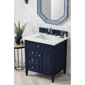 Brittany 30'' Single Bathroom Vanity Set in Victory Blue Finish with 1-1/5'' Classic White Quartz Top and Sink