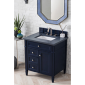 Brittany 30'' Single Bathroom Vanity Set in Victory Blue Finish with 1-1/5'' Charcoal Soapstone Quartz Top and Sink
