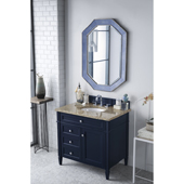Brittany 36'' Single Bathroom Vanity Set in Victory Blue Finish with 1-1/5'' Santa Cecilia Top and Oval Sink