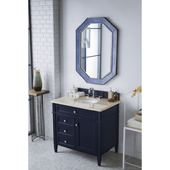 Brittany 36'' Single Bathroom Vanity Set in Victory Blue Finish with 1-1/5'' Galala Beige Top and Oval Sink