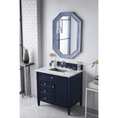 Brittany 36'' Single Bathroom Vanity Set in Victory Blue Finish with 1-1/5'' Eternal Jasmine Pearl Quartz Top and Sink