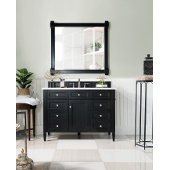 Brittany 48'' Single Bathroom Vanity, Black Onyx with 3 cm Carrara Marble Top and Satin Nickel Hardware - 48''W x 23-1/2''D x 34''H