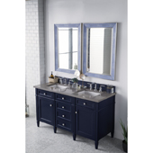 Brittany 60'' Double Bathroom Vanity Set in Victory Blue Finish with 1-1/5'' Grey Expo Quartz Top and Sinks