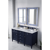 Brittany 60'' Double Bathroom Vanity Set in Victory Blue Finish with 1-1/5'' Carrara White Top and Oval Sinks