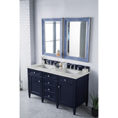 Brittany 60'' Double Bathroom Vanity Set in Victory Blue Finish with 1-1/5'' Eternal Jasmine Pearl Quartz Top and Sinks