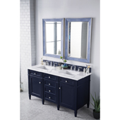 Brittany 60'' Double Bathroom Vanity Set in Victory Blue Finish with 1-1/5'' Arctic Fall Solid Surface Top and Sinks