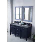 Brittany 60'' Double Bathroom Vanity Set in Victory Blue Finish with 1-1/5'' Charcoal Soapstone Quartz Top and Sinks