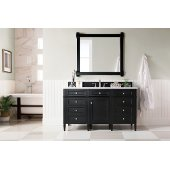 Brittany 60'' Single Bathroom Vanity, Black Onyx with 3 cm Arctic Fall Solid Surface Top and Satin Nickel Hardware - 60''W x 23-1/2''D x 34''H