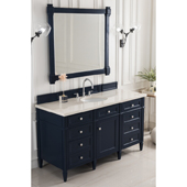 Brittany 60'' Single Bathroom Vanity Set in Victory Blue Finish with 1-1/5'' Galala Beige Top and Oval Sink