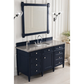 Brittany 60'' Single Bathroom Vanity Set in Victory Blue Finish with 1-1/5'' Grey Expo Quartz Top and Sink