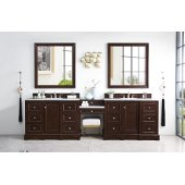 De Soto 118'' Double Bathroom Vanity Set, Burnished Mahogany with Makeup Table, 3 cm Arctic Fall Solid Surface Top and Satin Nickel Hardware - 120-1/2''W x 23-1/2''D x 36-1/4''H