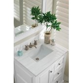 De Soto 30'' Single Bathroom Vanity, Bright White with 3 cm Arctic Fall Solid Surface Top and Satin Nickel Hardware - 31-1/4''W x 23-1/2''D x 36-1/4''H