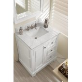 De Soto 30'' Single Bathroom Vanity, Bright White with 3 cm Carrara Marble Top and Satin Nickel Hardware - 31-1/4''W x 23-1/2''D x 36-1/4''H