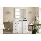 De Soto 48'' Single Bathroom Vanity, Bright White and Satin Nickel Hardware - 49-1/4''W x 23-1/2''D x 35''H
