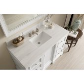 De Soto 48'' Single Bathroom Vanity, Bright White with 3 cm Arctic Fall Solid Surface Top and Satin Nickel Hardware - 49-1/4''W x 23-1/2''D x 36-1/4''H