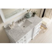 De Soto 48'' Single Bathroom Vanity, Bright White with 3 cm Carrara Marble Top and Satin Nickel Hardware - 49-1/4''W x 23-1/2''D x 36-1/4''H