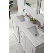 De Soto 60'' Double Bathroom Vanity, Bright White with 3 cm Arctic Fall Solid Surface Top and Satin Nickel Hardware - 61-1/4''W x 23-1/2''D x 36-1/4''H