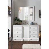 De Soto 60'' Single Bathroom Vanity, Bright White and Satin Nickel Hardware - 61-1/4''W x 23-1/2''D x 35''H