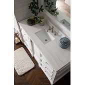 De Soto 60'' Single Bathroom Vanity, Bright White with 3 cm Arctic Fall Solid Surface Top and Satin Nickel Hardware - 61-1/4''W x 23-1/2''D x 36-1/4''H