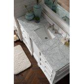 De Soto 60'' Single Bathroom Vanity, Bright White with 3 cm Carrara Marble Top and Satin Nickel Hardware - 61-1/4''W x 23-1/2''D x 36-1/4''H