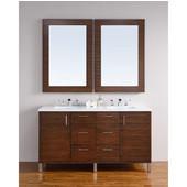 Metropolitan 60'' Double Vanity, American Walnut, Wall Mounted or Free Standing, No Countertop
