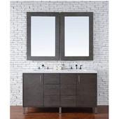 Metropolitan 60'' Double Vanity, Silver Oak, Wall Mounted or Free Standing, No Countertop