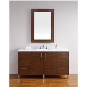 Metropolitan 60'' Single Vanity, American Walnut, Wall Mounted or Free Standing, No Countertop