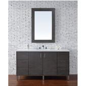 Metropolitan 60'' Single Vanity, Silver Oak, Wall Mounted or Free Standing, No Countertop