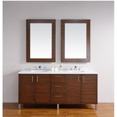 Metropolitan 72'' Double Vanity, American Walnut, Wall Mounted or Free Standing, No Countertop