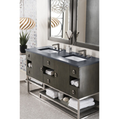 Sonoran 60'' Double Bathroom Vanity Set in Silver Oak Finish with 1-1/5'' Charcoal Soapstone Quartz Top and Sinks