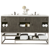 Sonoran 60'' Double Bathroom Vanity Set in Silver Oak Finish with 1-1/5'' Santa Cecilia Top and Oval Sinks