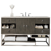 Sonoran 60'' Single Bathroom Vanity Set in Silver Oak Finish with 1-1/5'' Carrara Marble Top and Sink
