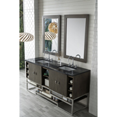 Sonoran 72'' Double Bathroom Vanity Set in Silver Oak Finish with 1-1/5'' Iconic Black Quartz Top and Sinks