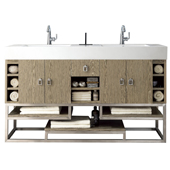 Tahoe 59'' Double Bathroom Vanity in Champagne Tiger Finish with Glossy White Solid Surface Top
