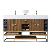 Tahoe 59'' Double Bathroom Vanity Base Only in Natural Zebrano Wood Finish