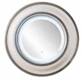 Rings 35-1/2'' Wall Mounted, Round Framed LED Mirror In Bright White with Silver, 35-1/2''Diameter x 4-1/2''D