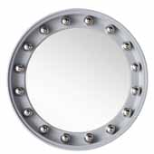 Halo 35-1/2'' Wall Mounted, Round Framed Mirror In Silver Gray with Chrome, 35-1/2''Diameter x 4''D