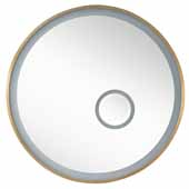 Radiance 35-1/2'' Wall Mounted, Round Framed LED Mirror In Brushed Gold, 35-1/2''Diameter x 2''D