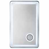 Essential 28'' LED Wall Mounted, Rectangular Framed Mirror In Brushed Nickel, 28-1/2''W x 2-1/2''D x 45-1/2''H