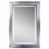 Escalante LED Wall Mounted, Rectangular Framed Mirror In Plated Nickel, 31-1/2''W x 3-1/2''D x 47-1/4''H