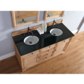 , 2cm Black Rustic Granite Countertop, Double Sink, 60'' Wide (Cabinet Base not Included)