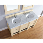 , 2cm Carrara White Marble Countertop, Double Sink, 60'' Wide (Cabinet Base not Included)