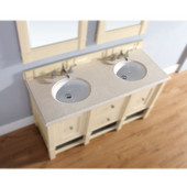 , 2cm Galala Beige Marble Countertop, Double Sink, 60'' Wide (Cabinet Base not Included)