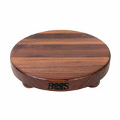 Round Cutting Board with Bun Feet, Walnut Edge Grain, 12'' Dia. x 1-1/2'' Thick, Sold Individually or in a Set
