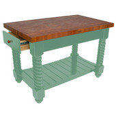 Cherry Tuscan Isle Boos Block Kitchen Island, 54'' W or 72'' W x 32'' D x 36''H, Basil