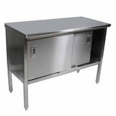 EBSS4 Series 14-Gauge Stainless Steel 108'' W x 24 '' D Enclosed Base Flat Top Work Table with Sliding Doors