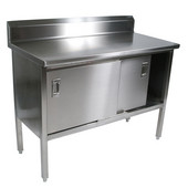 EBSS4R5 Series 14-Gauge Stainless Steel 120'' W x 24'' D Enclosed Base Flat Top Work Table w/ 5'' Riser & Sliding Doors