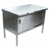 Stainless Steel Enclosed Table w/ 3/4'' Thick High Density Polyethylene Top, Sliding Doors, 16 Gauge, Different Sizes Available